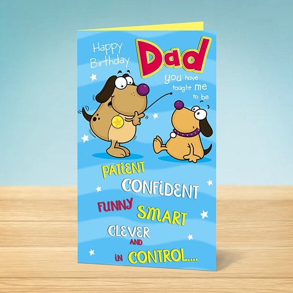 Birthday Card Happy Birthday Dad Funny Dogs Garlanna Greeting Cards – Birthday Card from Dog