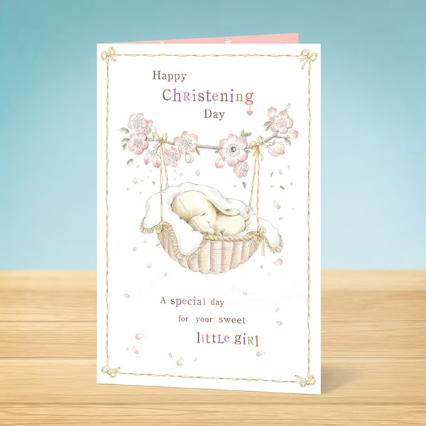 Card For Christening With A Female Elephant