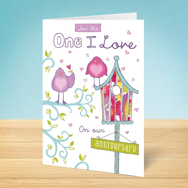 Anniversary cards designed produced in ireland anniversary card one i love birds reheart Images