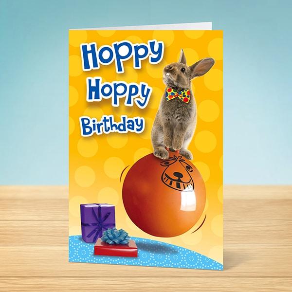 Birthday Card Hoppy Birthday Rabbit Garlanna Greeting Cards