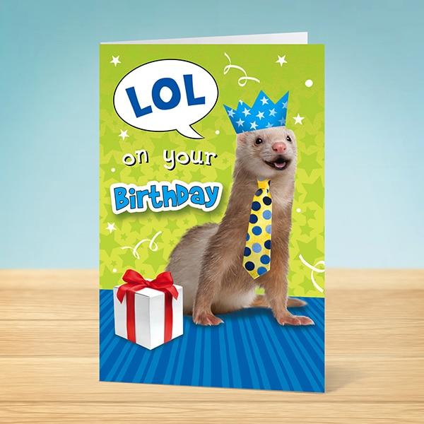 Birthday Card LOL Weasel