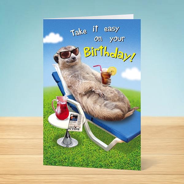 Birthday Card Chillin Meerkat Garlanna Greeting Cards
