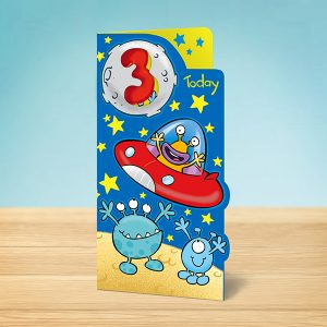 3 year old alien birthday card