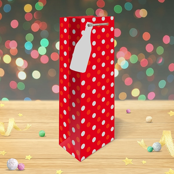 christmas bottle bag silver polka dots