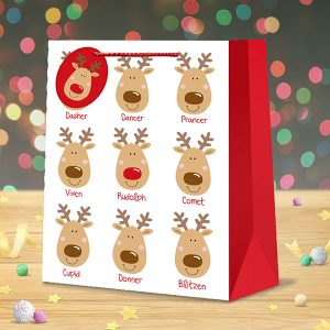 christmas gift bag large santa's reindeer