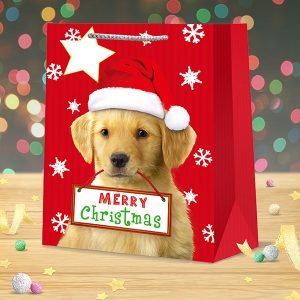 christmas gift bag large puppy dog