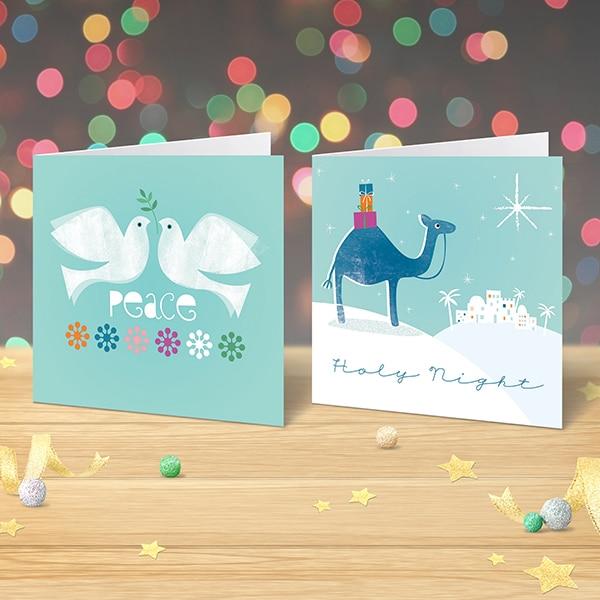 charity christmas cards x 12 modern religious  garlanna