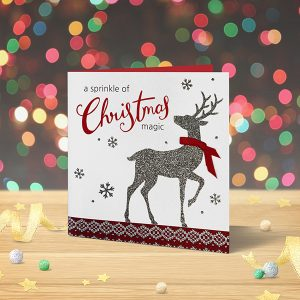 Christmas Card Classic Giltter Deer