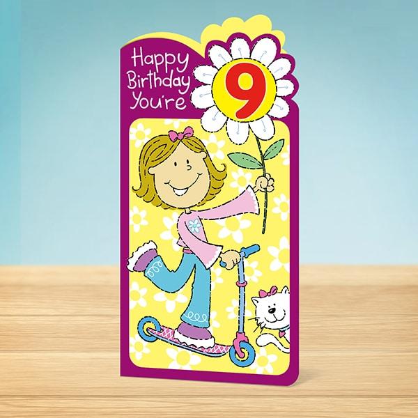 Birthday Card 9th Flower