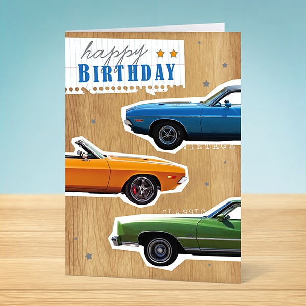 Birthday Card Classic Cars Garlanna Greeting Cards – Birthday Cards with Cars