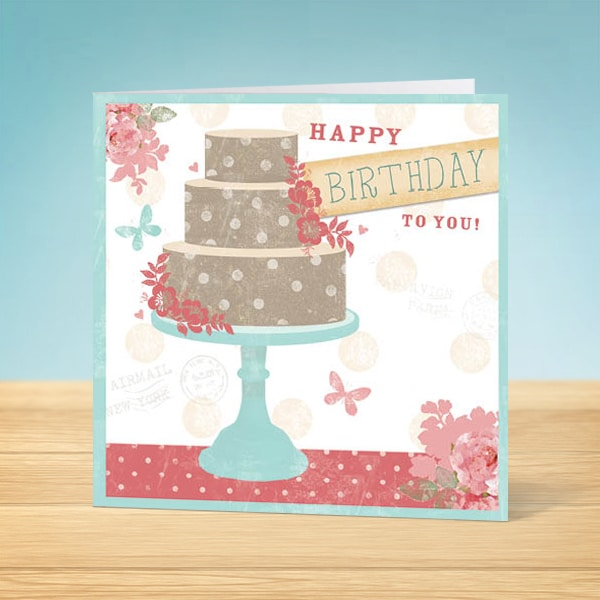 Polka dot Cake Birthday Card Front