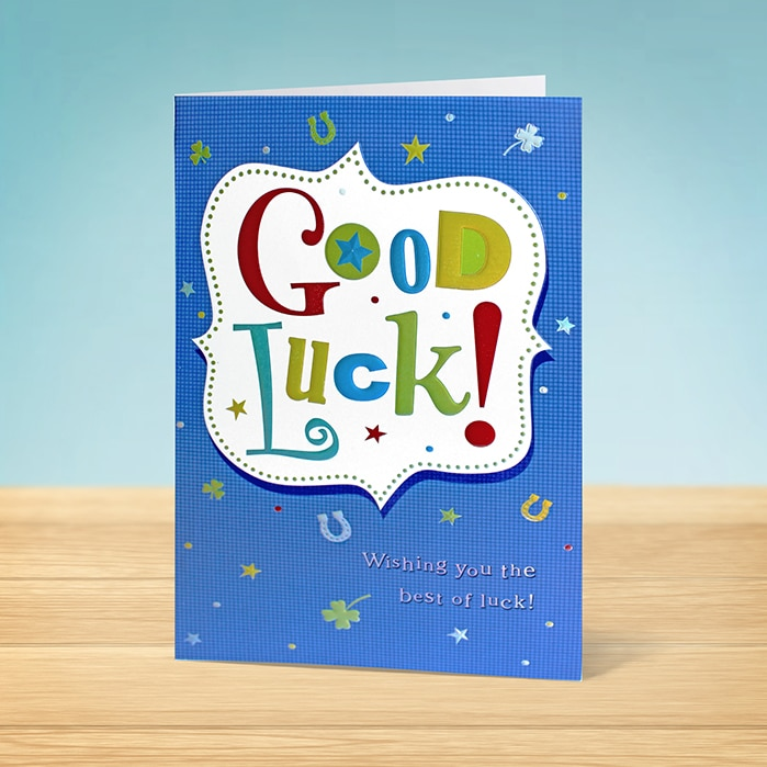 Good luck card with text