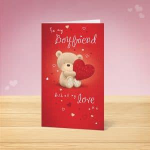 Love Bear Boyfriend Valentine's Card Front