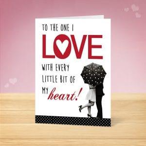 Under Umbrella Valentine's Card Front