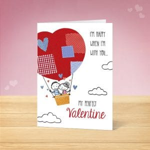 Hot air Balloon Valentine's Card Front