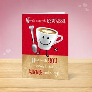 Espresso Valentine's Card Front