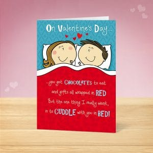 Cuddles in Bed Valentine's Card Front