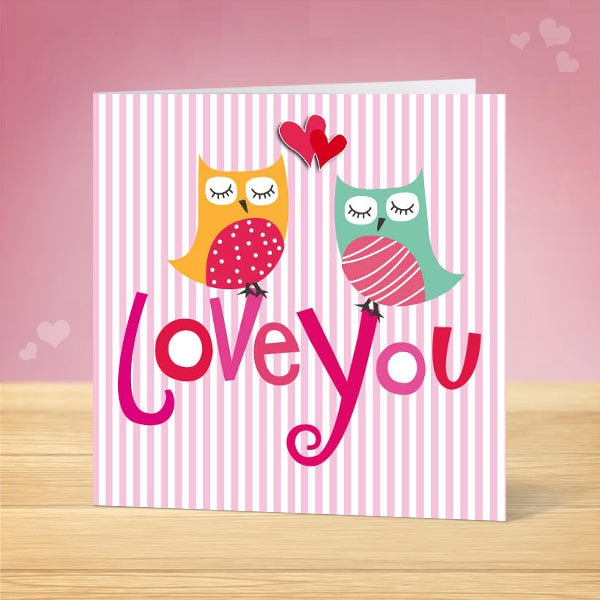 Love Owls Valentine's Card Front