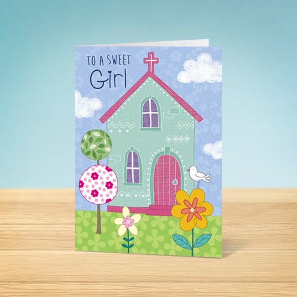 Sweet Girl Confirmation Card Front