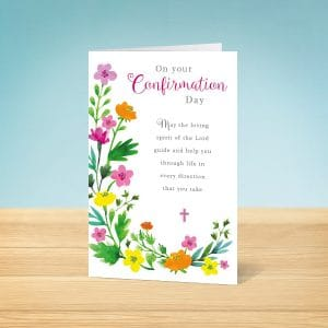 Painted Floral Confirmation Card Front