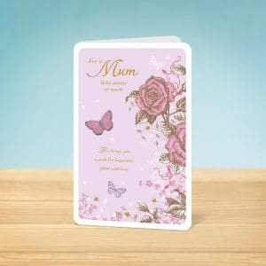 pink rose Mothers Day card front