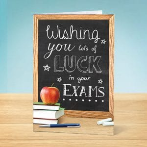 Exam good luck card blackboard