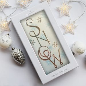 charity christmas card with snow