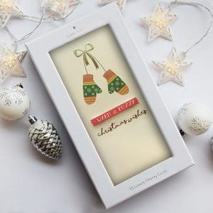cute irish charity christmas card with mittens