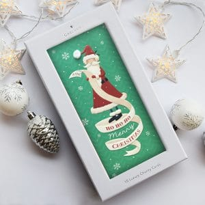 charity christmas card with santa claus