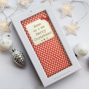 red polka dot christmas card