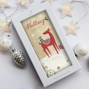 Irish language christmas card with a reindeer
