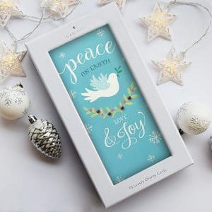 christmas card with a white dove