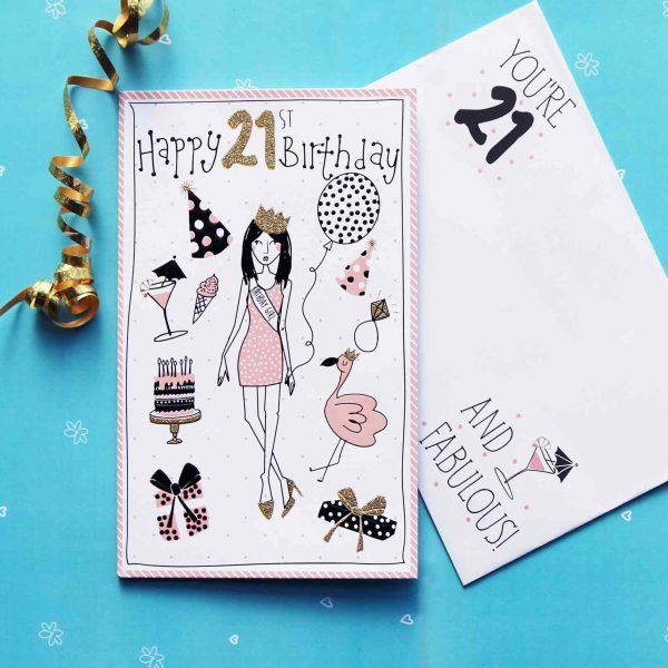 Doodles 21st birthday girl card garlanna greeting cards 21st birthday card 21st birthday card bookmarktalkfo Choice Image