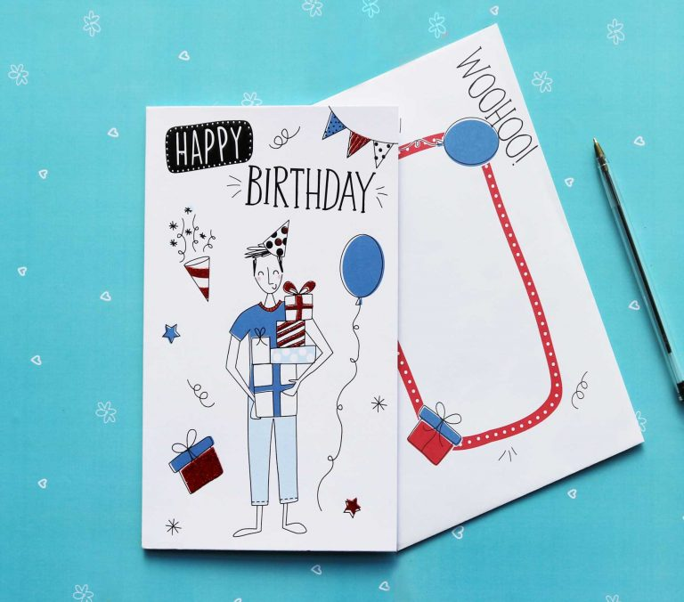 Doodles Funky Male Birthday Card