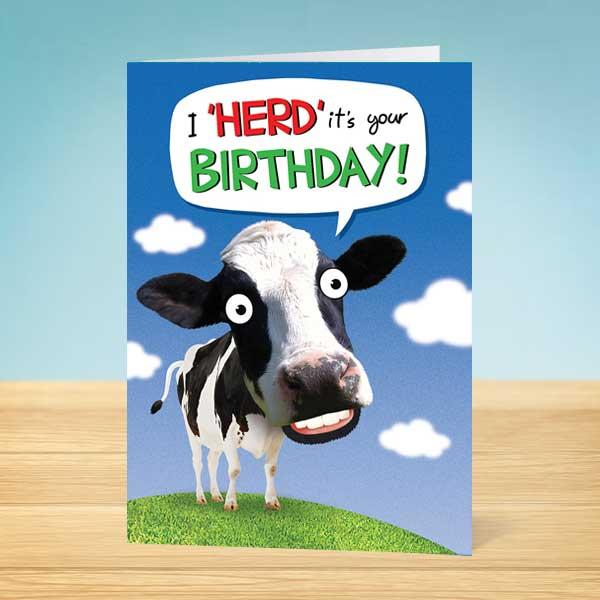 Birthday Card Happy Cow Garlanna Greeting Cards