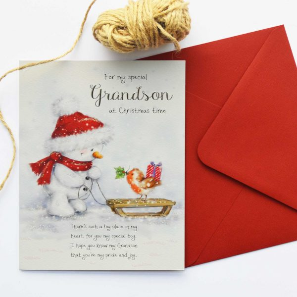 Christmas Words Of Warmth Grandson Card Garlanna