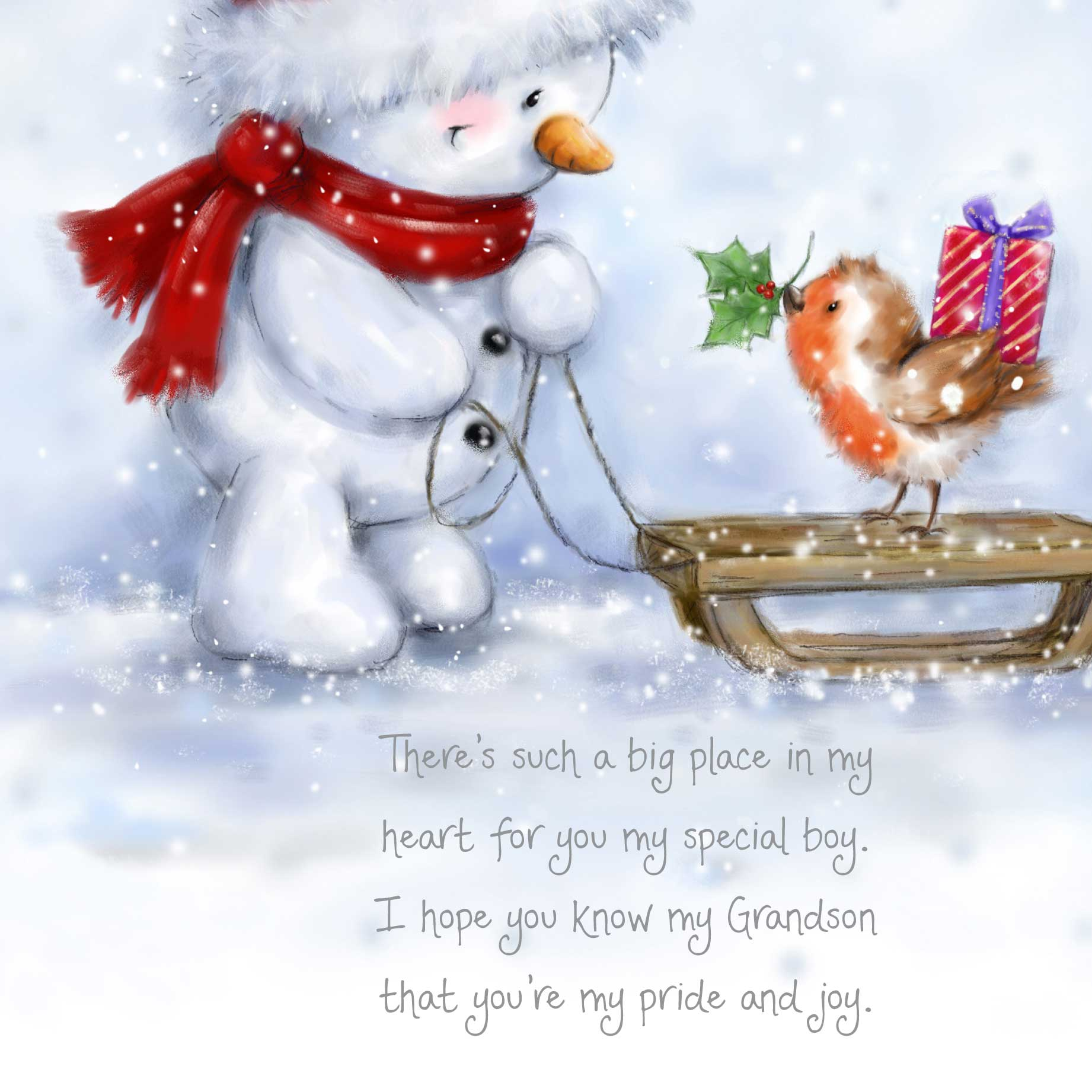 christmas words of warmth grandson card