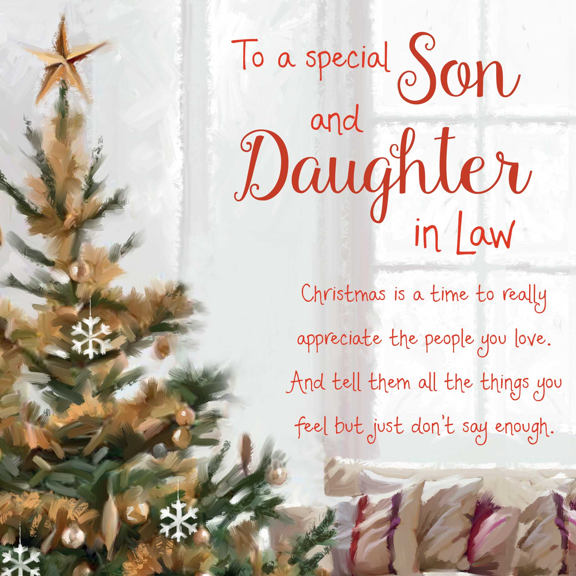 Christmas Words of Warmth Son and Daughter in Law Card - Garlanna Greeting Cards