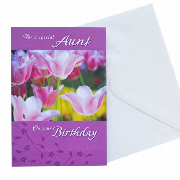 Birthday Card Aunt Flowers G1580 Front