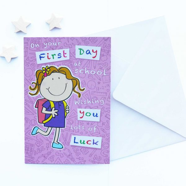 Little girl starts big school card first day at school first day at school m4hsunfo