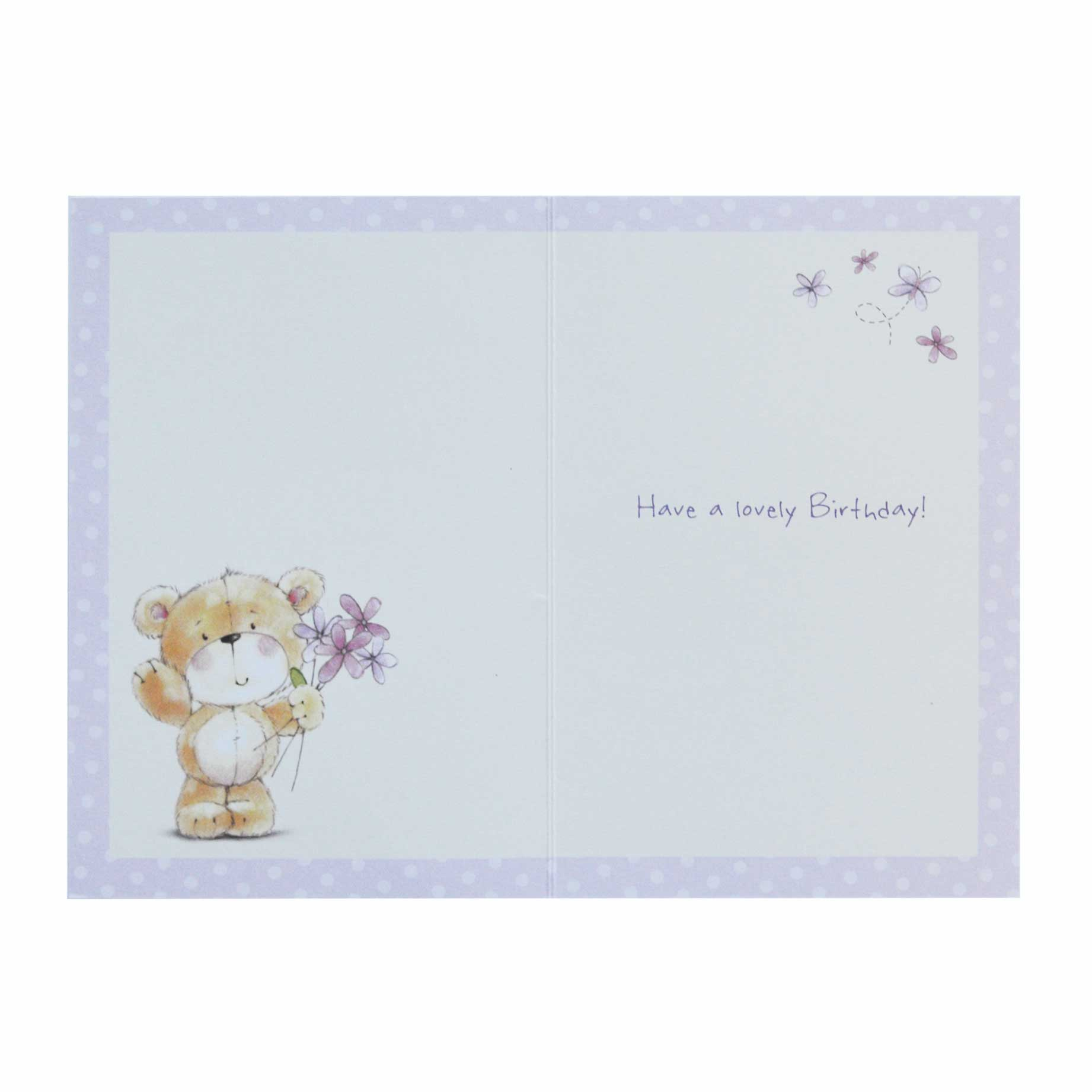 Birthday Card Nanna Cute Teddy Bear And Flowers