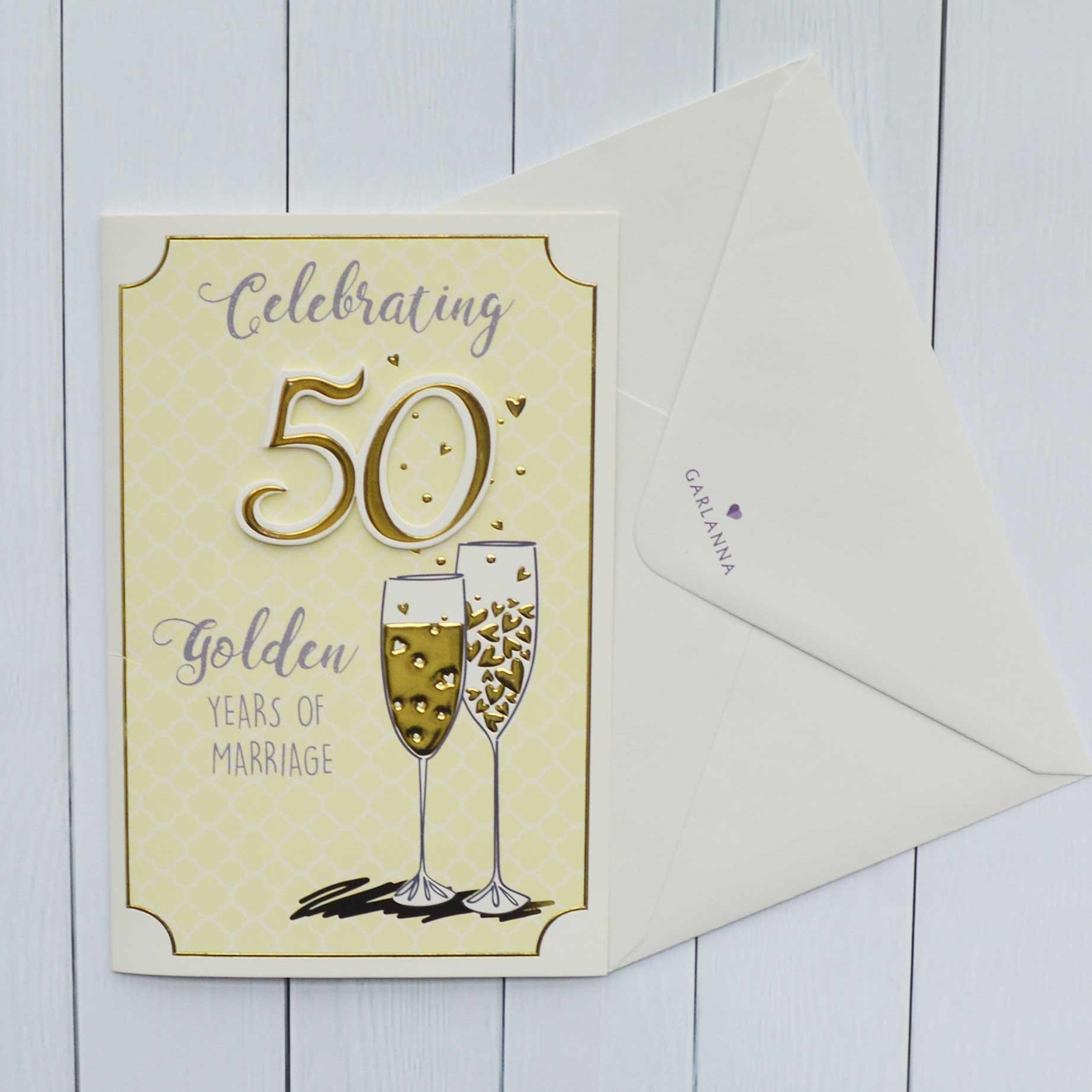 anniversary card golden wedding 50 years  garlanna