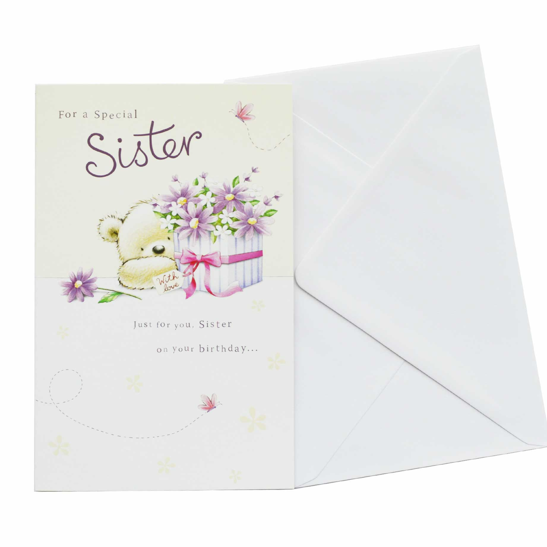 Birthday Card Sister Teddy Bear And Flowers